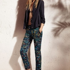 Bomber jacket, $70; ruched two-piece swimsuit, $44; twill pants, $54