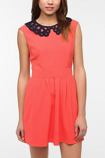 Coincidence & Chance Crepe Eyelet Collar Dress