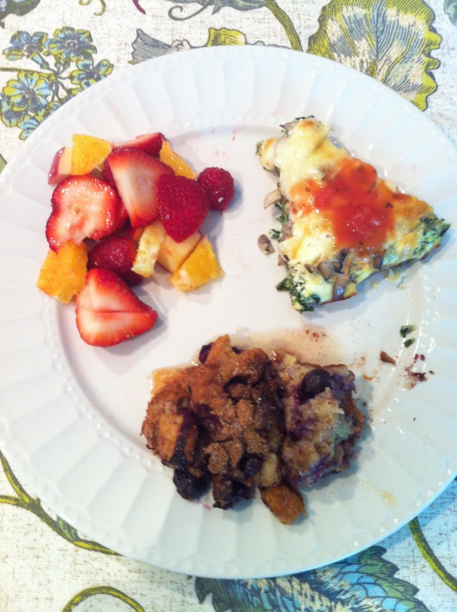 mother's day brunch with french toast bake and frittata and fruit salad