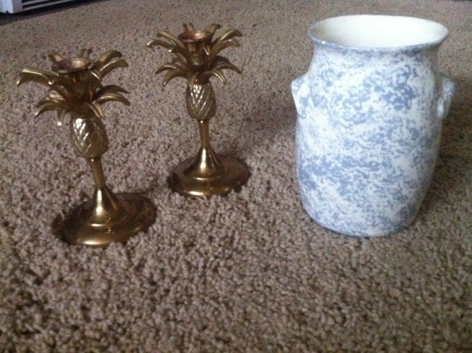 vintage gold pineapple candlesticks