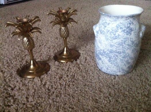 vintage gold pineapple candlesticks