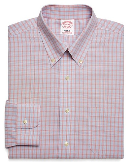 red check button down from brooks brothers