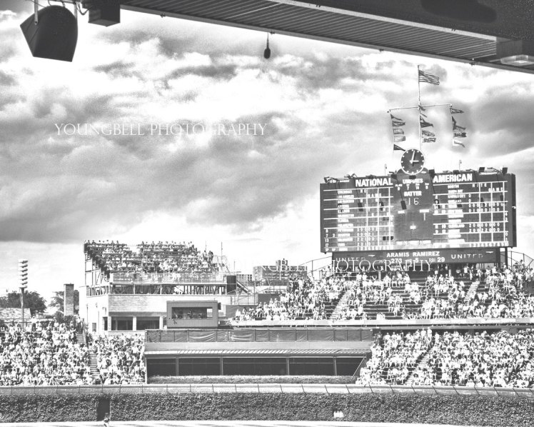 wrigley field black and white photo