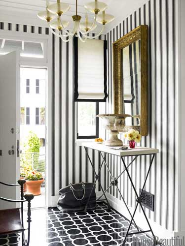 black and white stripe entryway