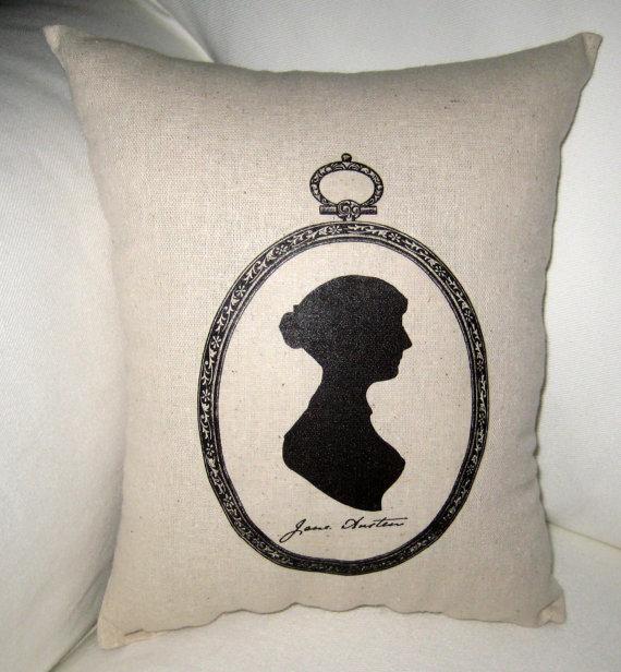 jane austen silhouette pillow