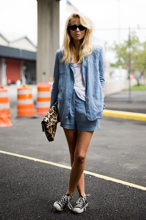 chambray blazer and shorts