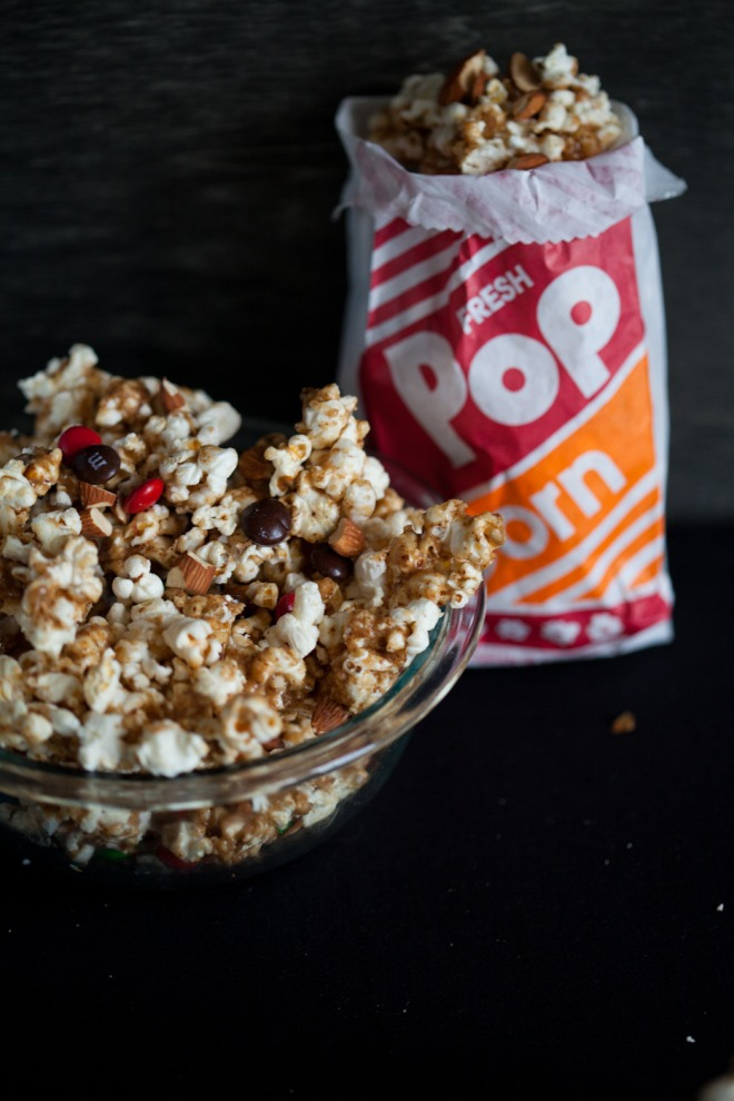 m&ms and almond popcorn