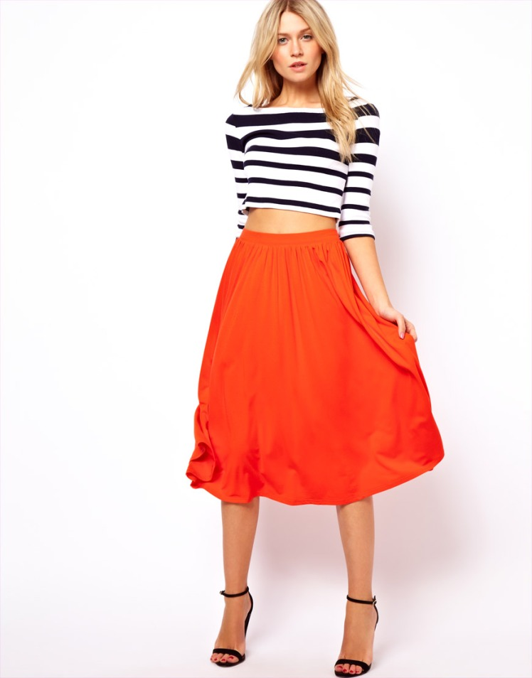orange midi skirt asos