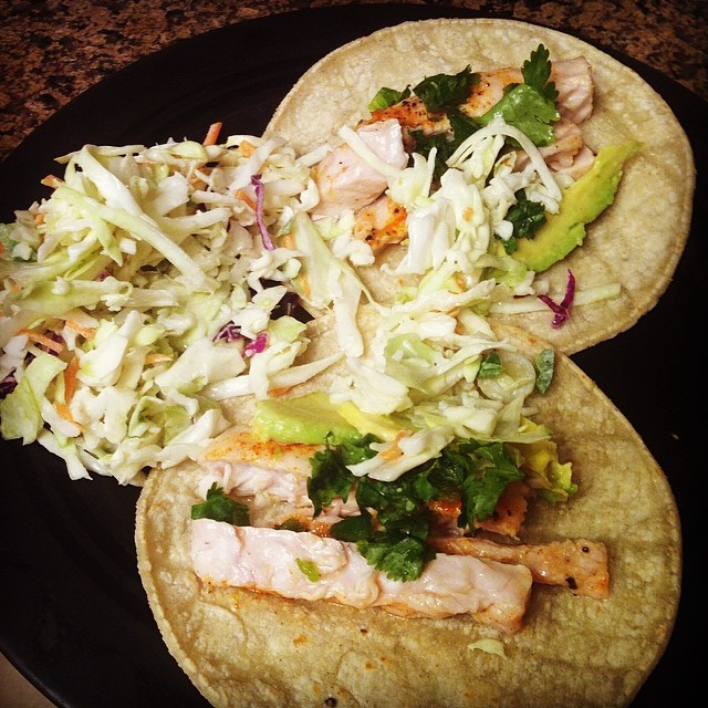 fish tacos with cole slaw