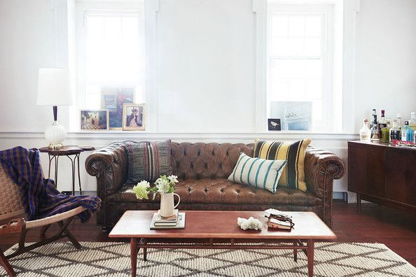 chesterfield sofa with midcentury