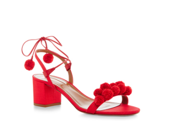 Red Aquazzura Pom Pom Shoe