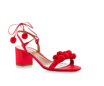 Red Aquazzura Pom Pom Shoe